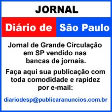 Para Publicar Anúncios no Jornal DIÁRIO DE SÃO PAULO SP