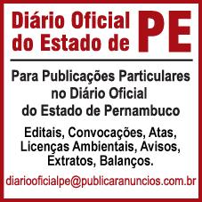 Para Publicar no DIÁRIO OFICIAL DO ESTADO DE PERNAMBUCO PE editado pela CEPE