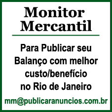 Para Publicar seu Balanço no Jornal Monitor Mercantil
